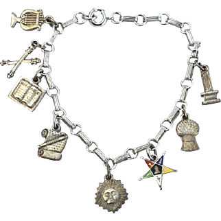 1940's Early Hallmarked STERLING SILVER Charm Bracelet, 8 Charms