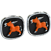 Vintage Signed HICKOK Enameled Donkey Cuff Links Cufflinks