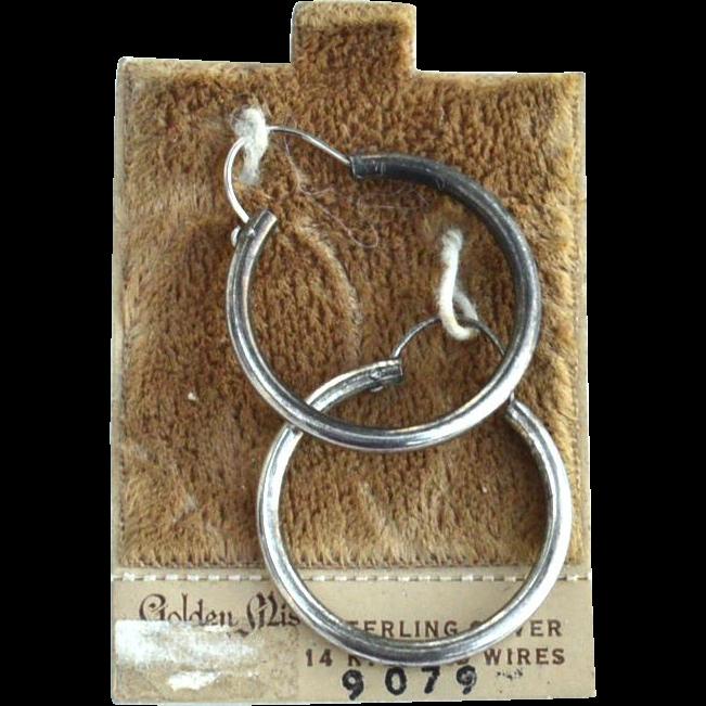 Vintage Hallmarked Sterling Silver and 14K GOLD Hoop Earrings on Original Card
