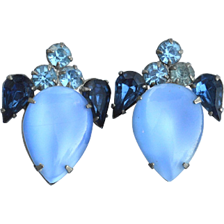 Vintage Oversized Blue Glass Moonstone and Rhinestone Clip Earrings