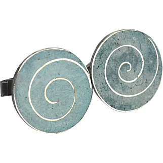 Vintage Hallmarked Taxco Mexico STERLING Turquoise Cufflinks Cuff Links