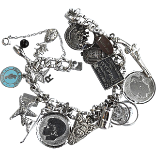 Vintage Loaded STERLING SILVER Charm Bracelet, American Sterling, 16 Charms in all! US Naval Academy. Enamel, Travel, Gun, RN, So Many More!