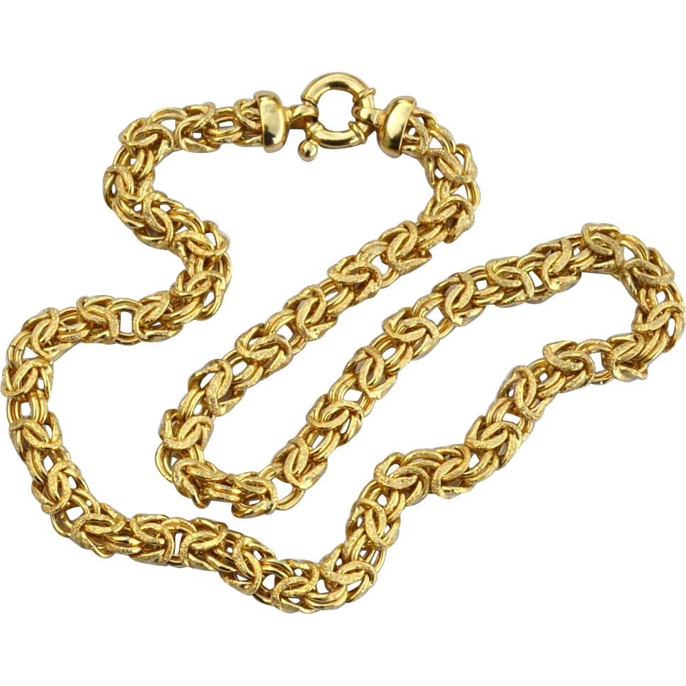Gorgeous Hallmarked STERLING SILVER Gold Vermeil Chain Necklace, Fancy Style Links and Clasp