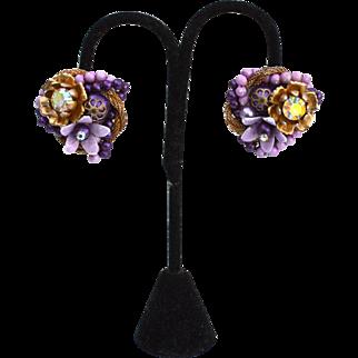 Vintage Signed BEAU JEWELS Chunky Purple Clip Earrings