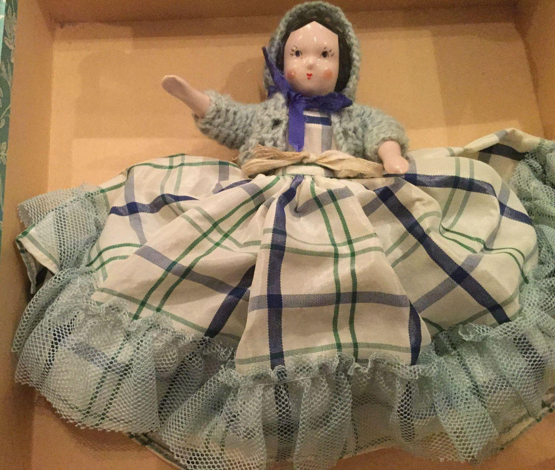 Vintage 1950's Ruth Gibbs China Doll  Original Box