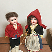 "Pair of German Bisque Doll 7.25"" A M Doll Ethnic Costumes"