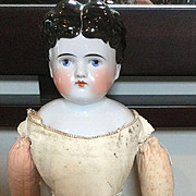 "18"" Black Haired White Center Part China Doll on Kid Body  Germany"