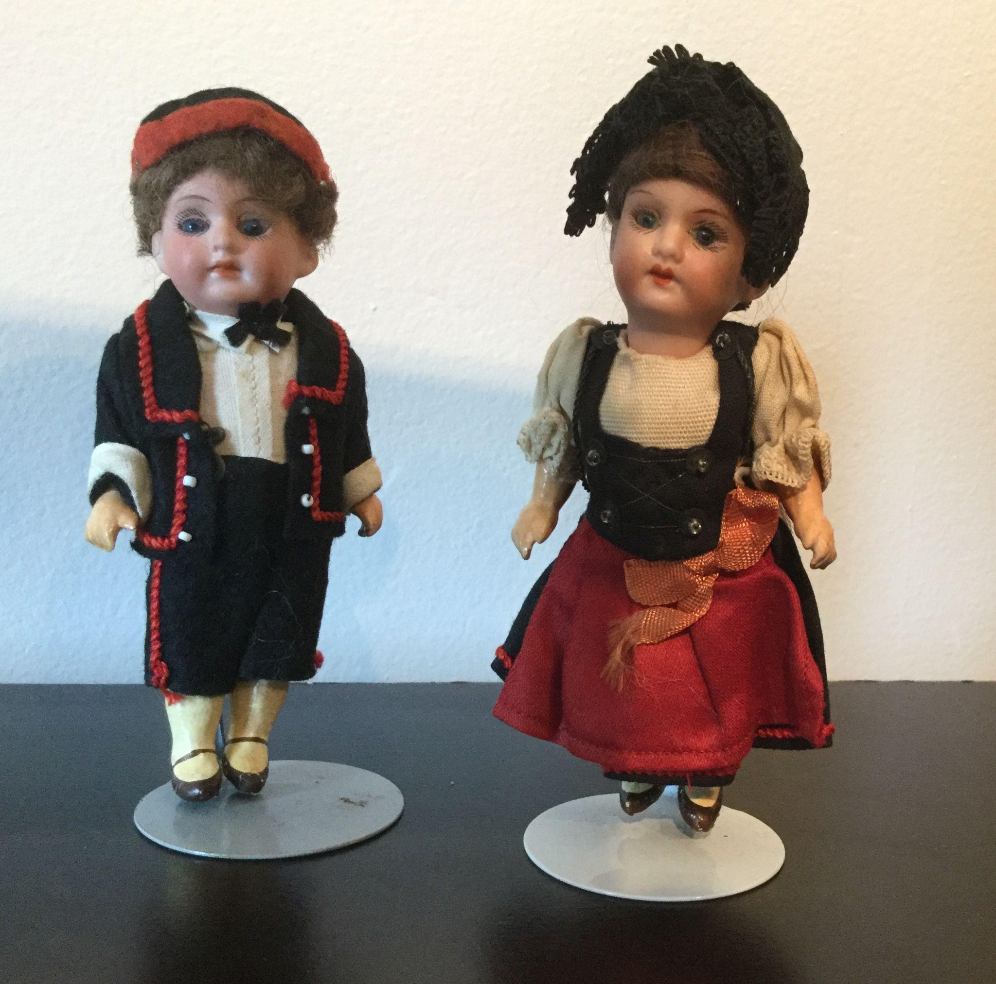 "5"" Pair of Bisque Head Dolls from Germany marked Germany A 16/0 M"