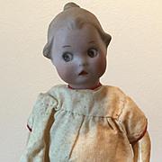 "7"" Antique Bisque Google painted Eyes Gerbuder Heubach Original Dress 1914"