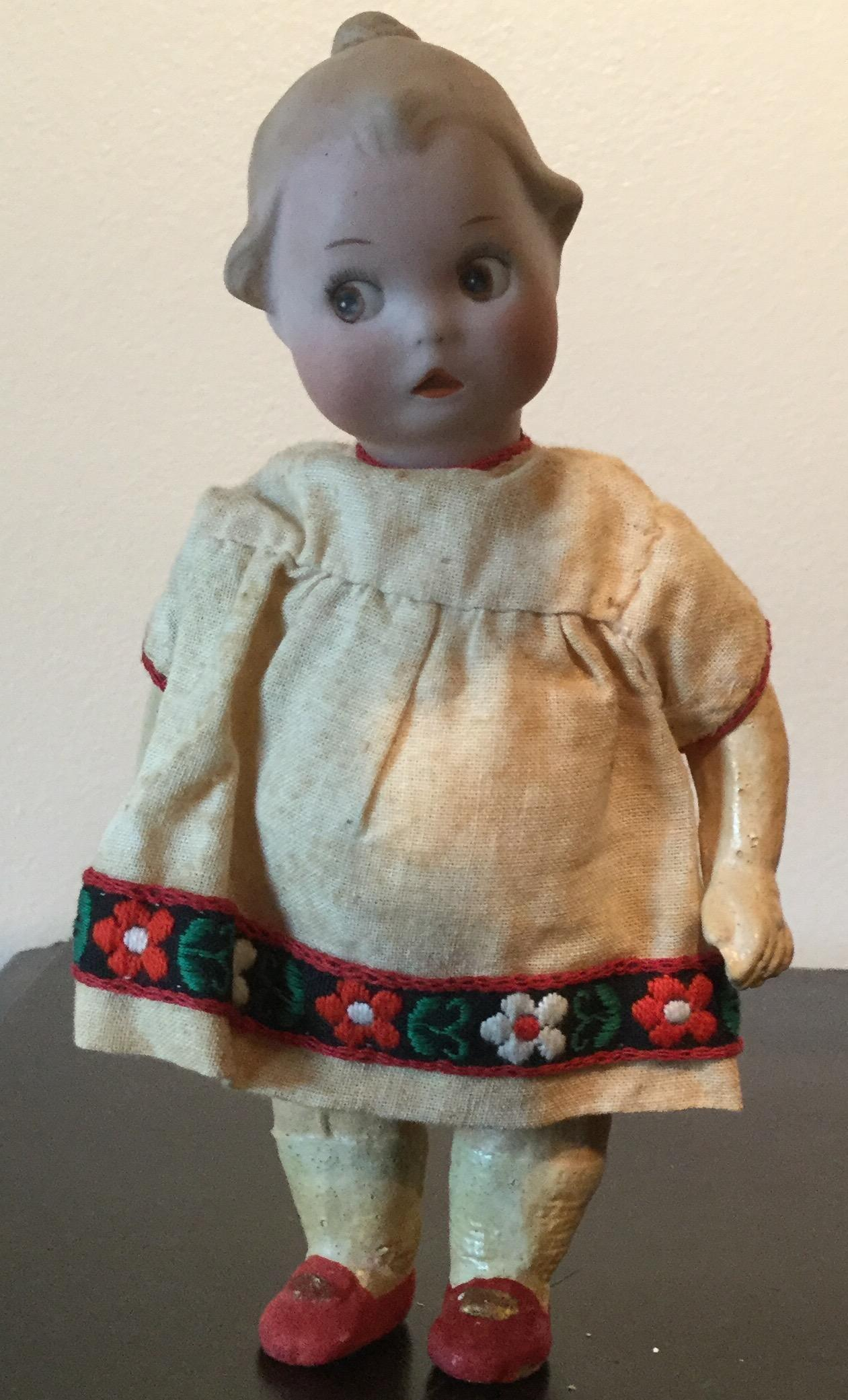 "7"" Antique Bisque Google painted Eyes Gerbuder Heubach Original Dress 1914"