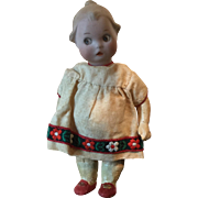 "7"" Antique Bisque Google painted Eyes Gerbuder Heubach Original Dress 1914 - Red Tag Sale Item"