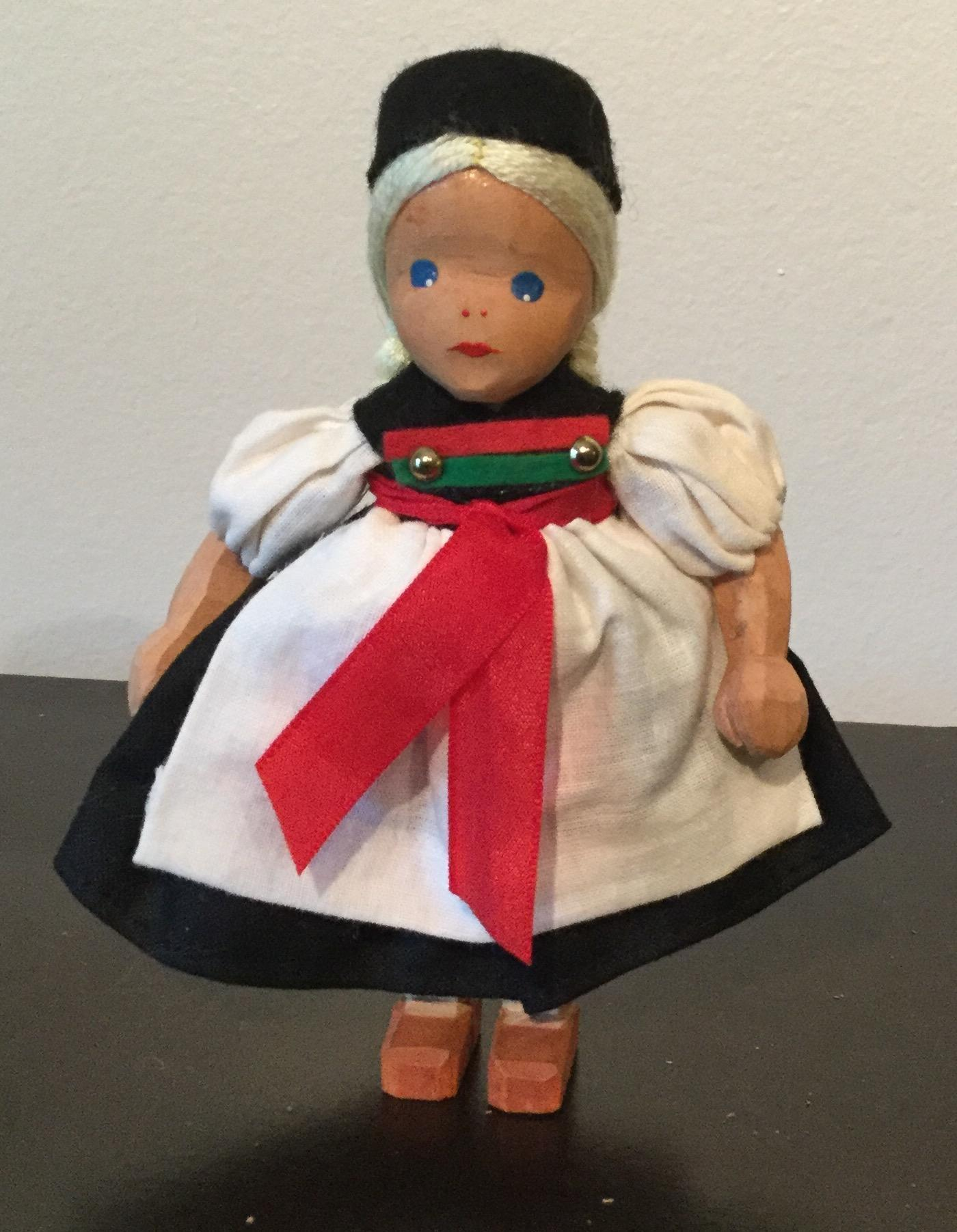 "4.75"" Wooden Girl Doll from Germany mid 20th century"