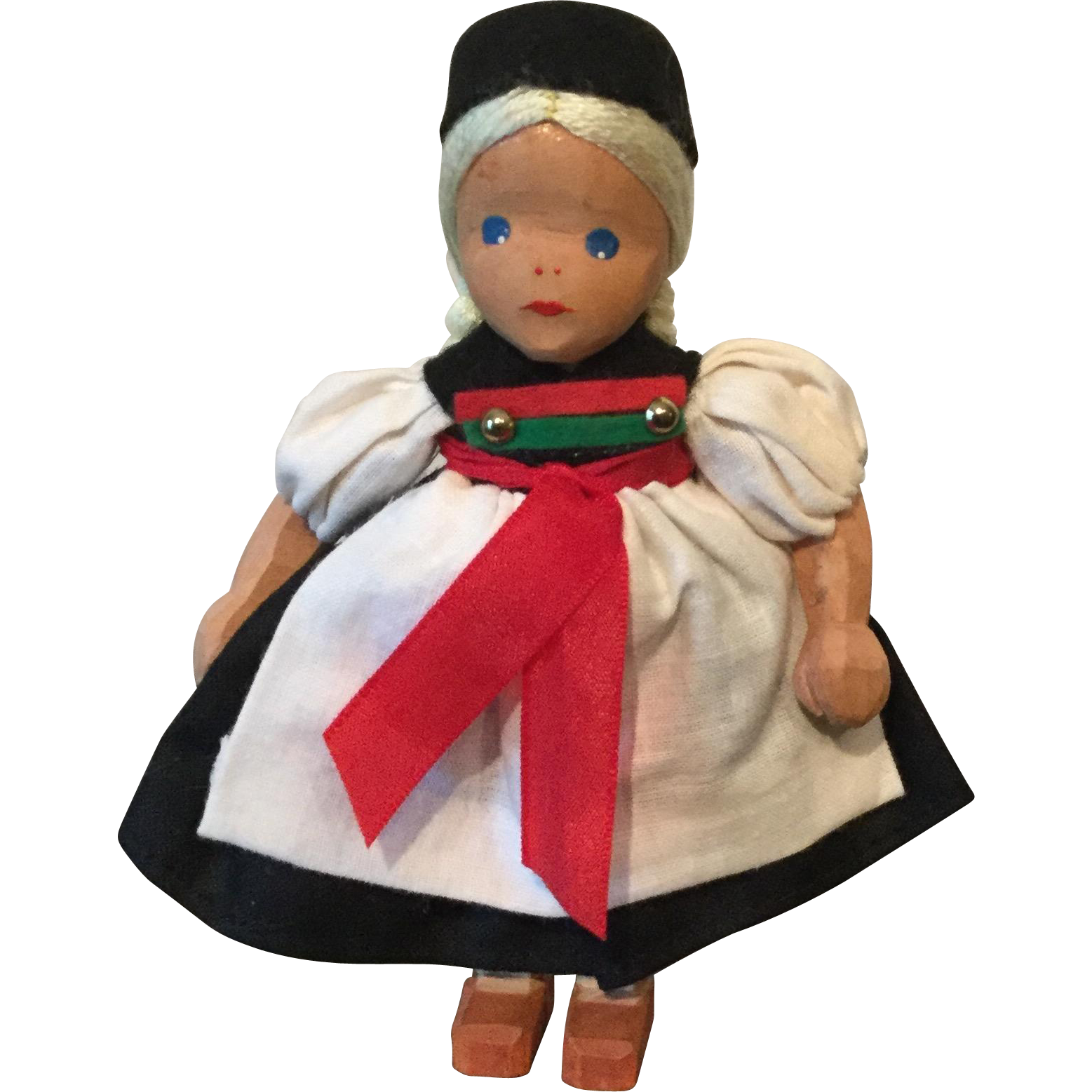 """4.75"""" Wooden Girl Doll from Germany mid 20th century"""