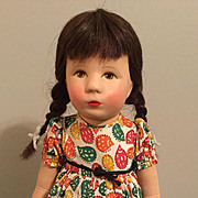 "14"" Kathe Kruse Doll Brunette Braids All Original Germany"