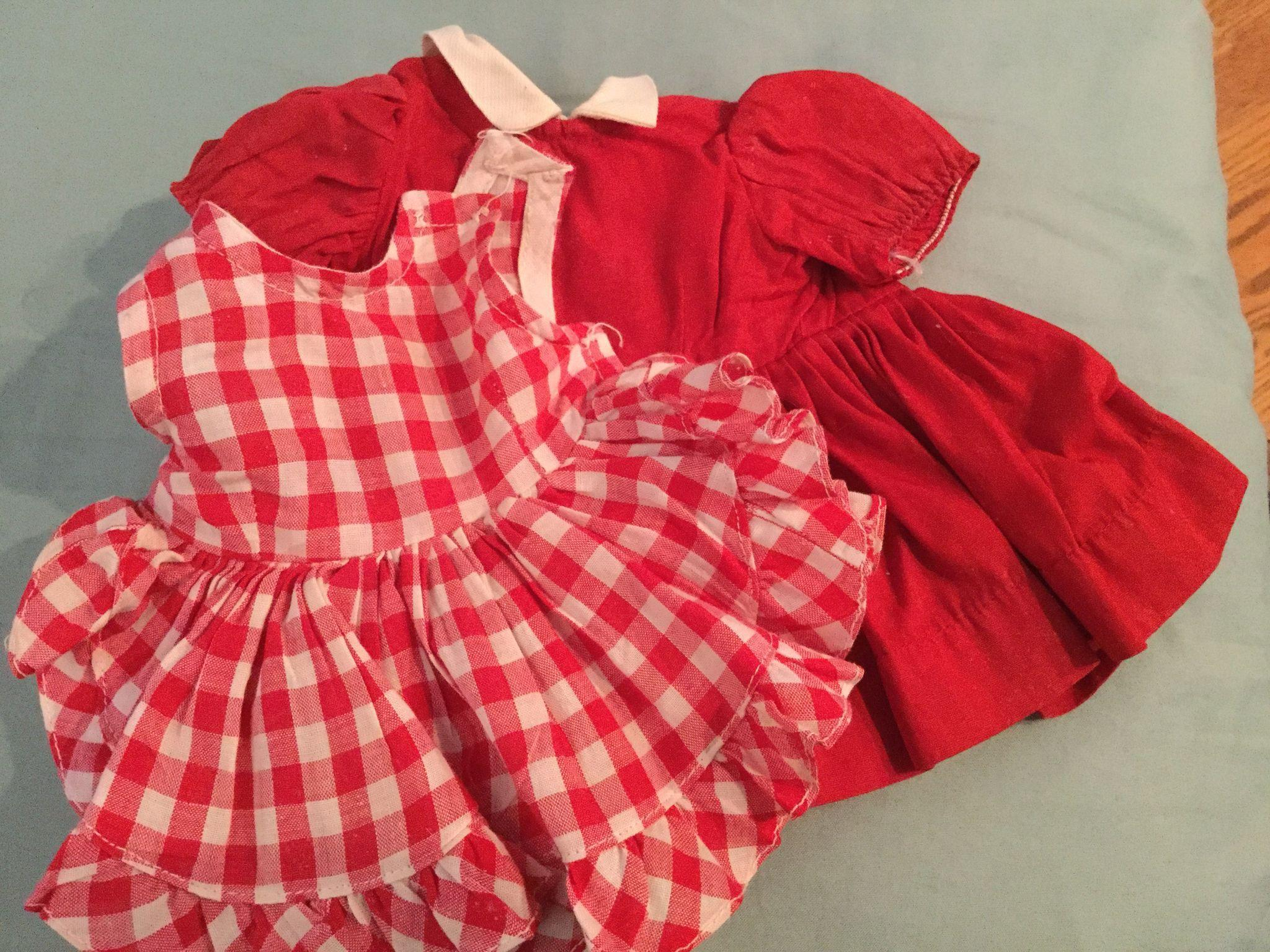 "Doll Clothing 16"" Terri Lee Doll  2 Piece Red and White Pinafore and Red Dress both tagged"