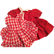 """Doll Clothing 16"""" Terri Lee Doll  2 Piece Red and White Pinafore and Red Dress both tagged"""