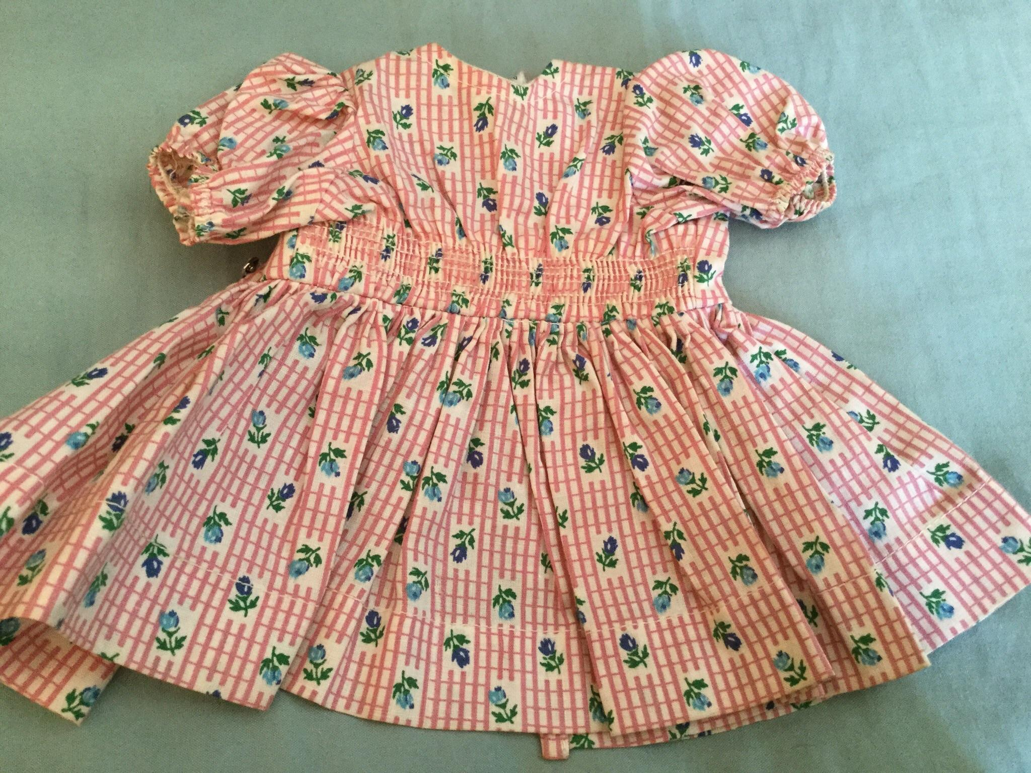 "Doll Clothing 16"" Terri Lee Pink Floral Dress with Smocked Waist Tagged 1950's"