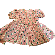 """Doll Clothing 16"""" Terri Lee Pink Floral Dress with Smocked Waist Tagged 1950's"""