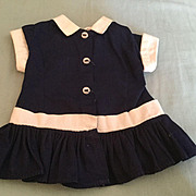 "Doll Clothing 16"" Terri Lee Navy Dropped Waist Dress tagged 1950's"