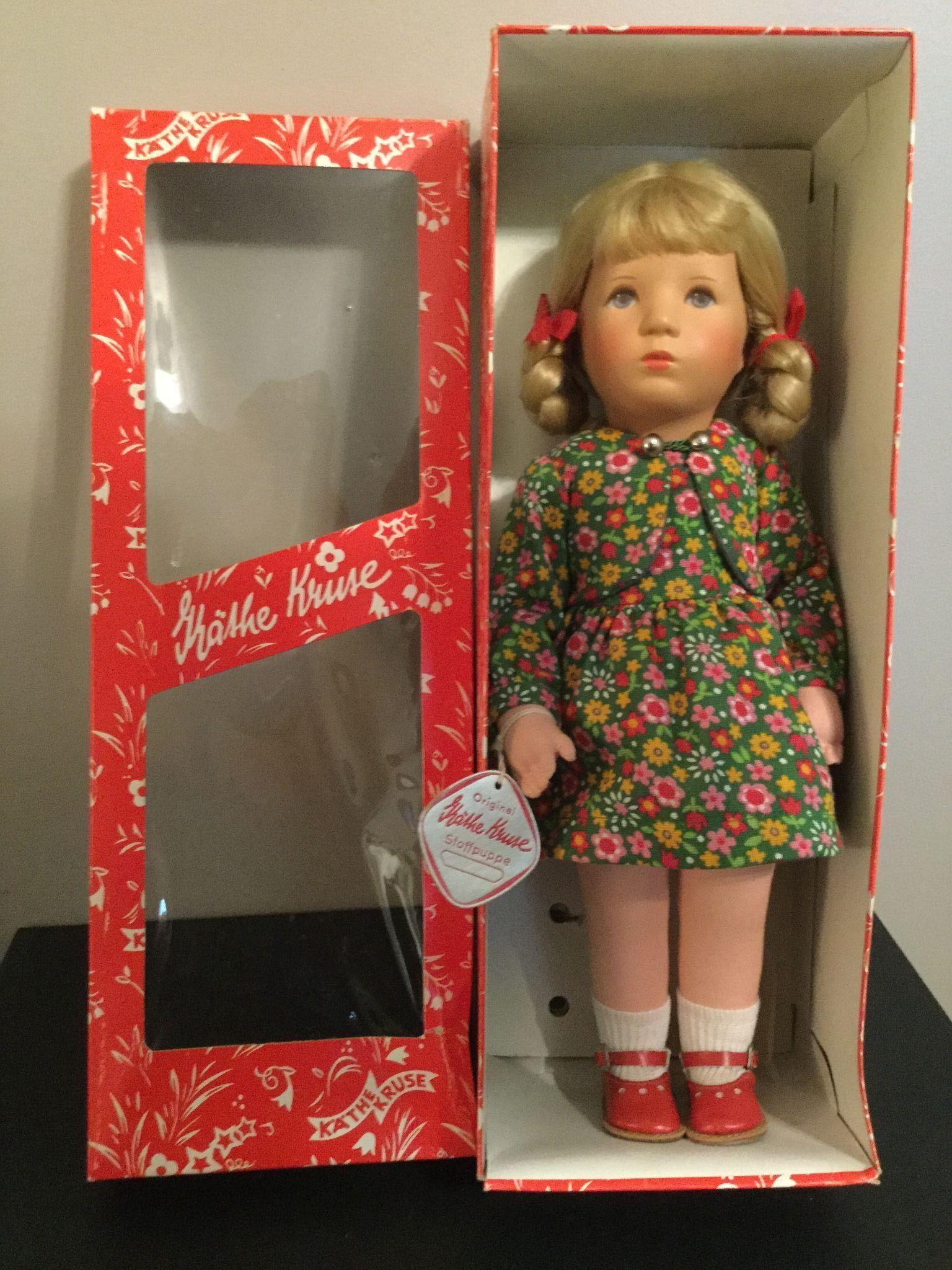 "Kathe Kruse Doll 14"" made in Germany Wrist Tag and Box Hard Plastic Type Head"