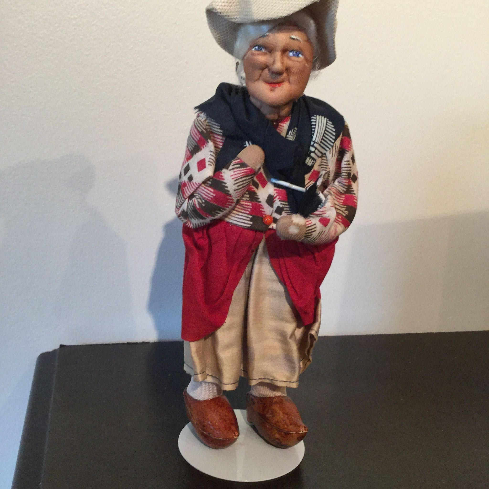 "9"" Ravca stockinette Old Lady  ethnic doll Made in France by Bernard Ravca 1940's"