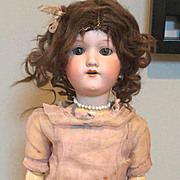 "21"" Bisque German Doll AM 390 original bottom of box"