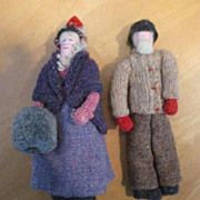 "7"" Woolen Cloth Doll Pair New Brunswick Canada"