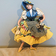 "Layna 12"" Cloth doll made in Spain Identification Tags Lady feeding a Duck"