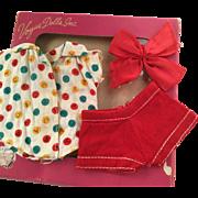 Ginny doll clothing Ginny Box Shirt tagged, Shorts and Red Hair Bow 1950's