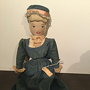 "15"" Homemade Cloth lady doll from the 1940's"