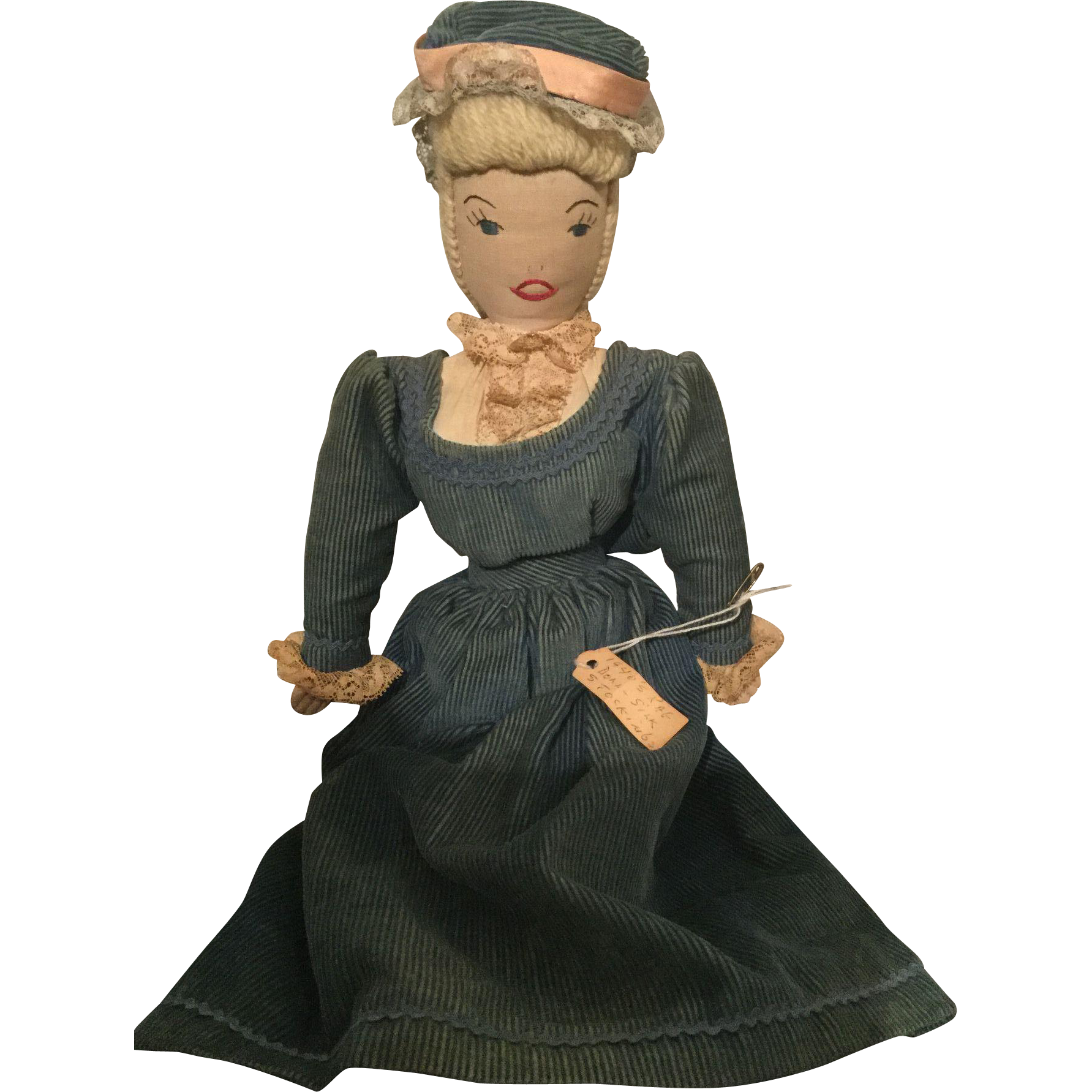 """15"""" Homemade Cloth lady doll from the 1940's"""