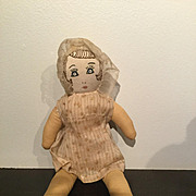 "9"" cloth doll  Embroidered face  1940's"