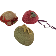 """Three vintage 1950's hats for 8""""dolls Ginny, Muffie, Ginger, Alexander-kins"""