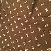 Brown Leaf 1880's antique Fabric remnant