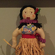 Cloth Hula Doll straw Skirt painted face
