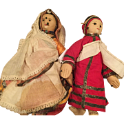 1942 Cloth  Bride and Bridegroom Dolls Made in India
