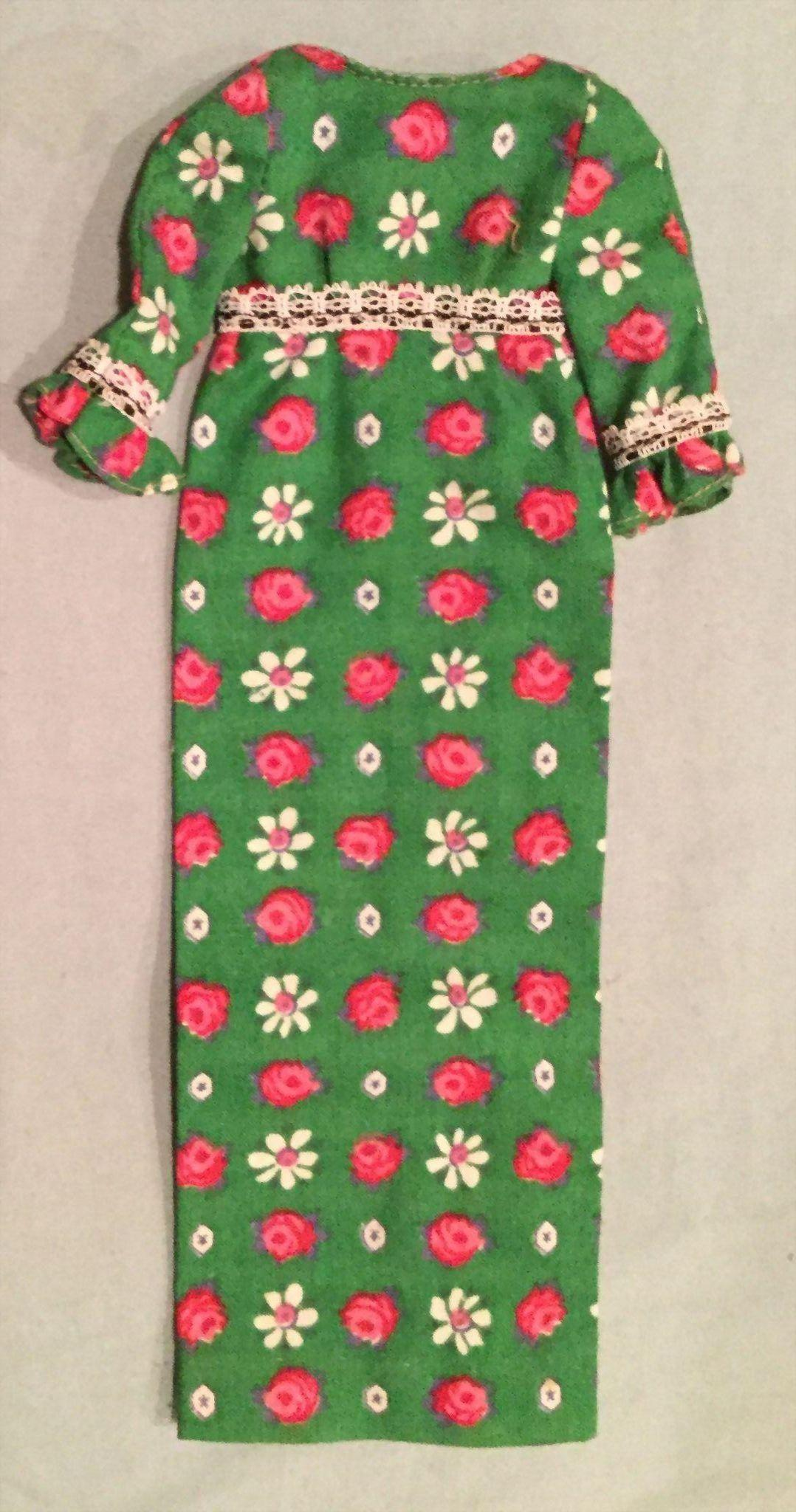 Vintage Francie long green floral print dress Tagged Barbie's friend