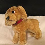 Steiff puppy dog red leather collar tag is gone