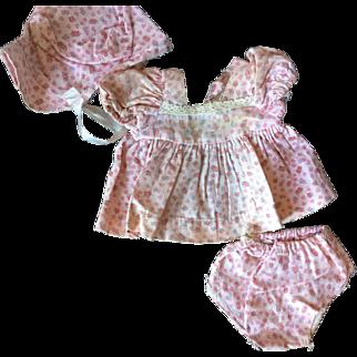 3 piece Dress Set Bonnet, Dress and Pants 1940's