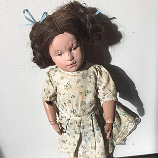 "14"" wood Schoenhut Doll sticker on back needs TLC 1911"