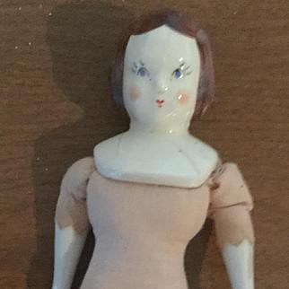 """7"""" Ruth Gibbs China Doll damaged head"""