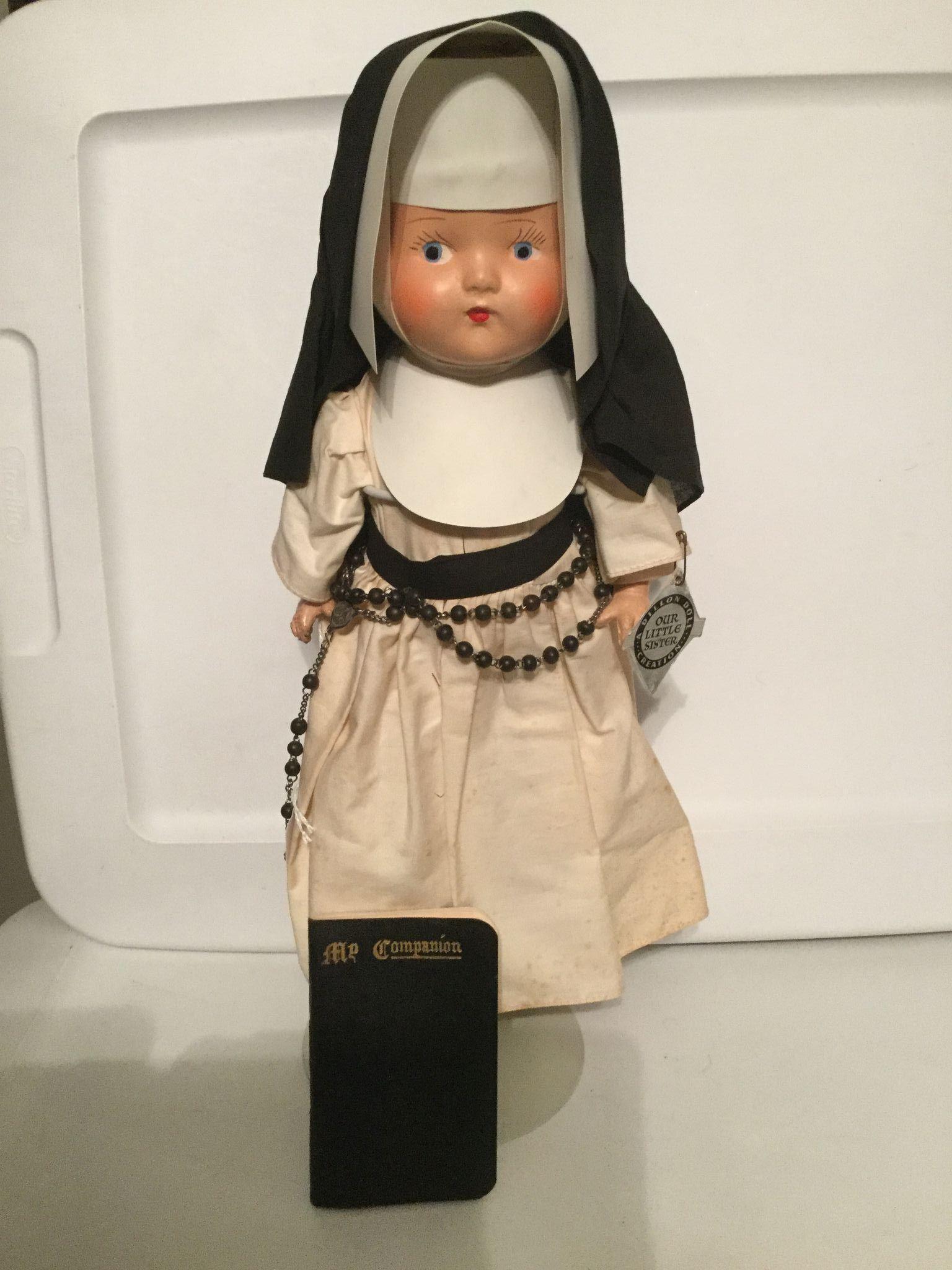 "Our Little Sister Composition Nun Doll 13"" tall"