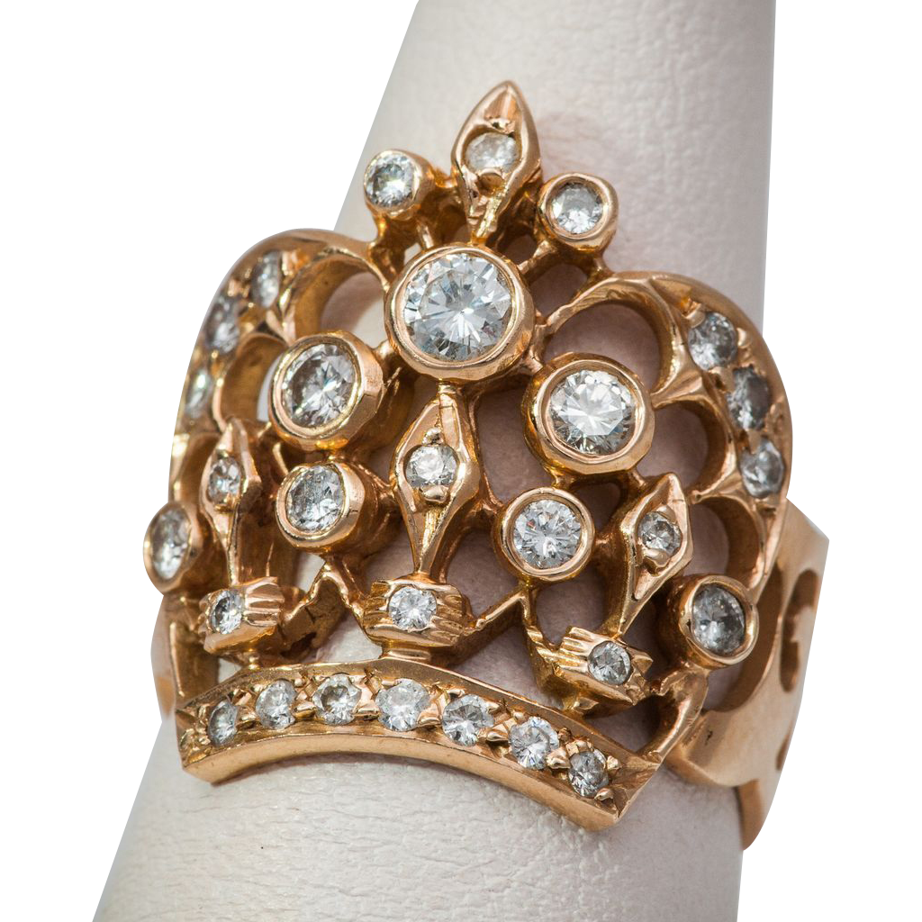 and gold crown ring from susansdollsandantiques on