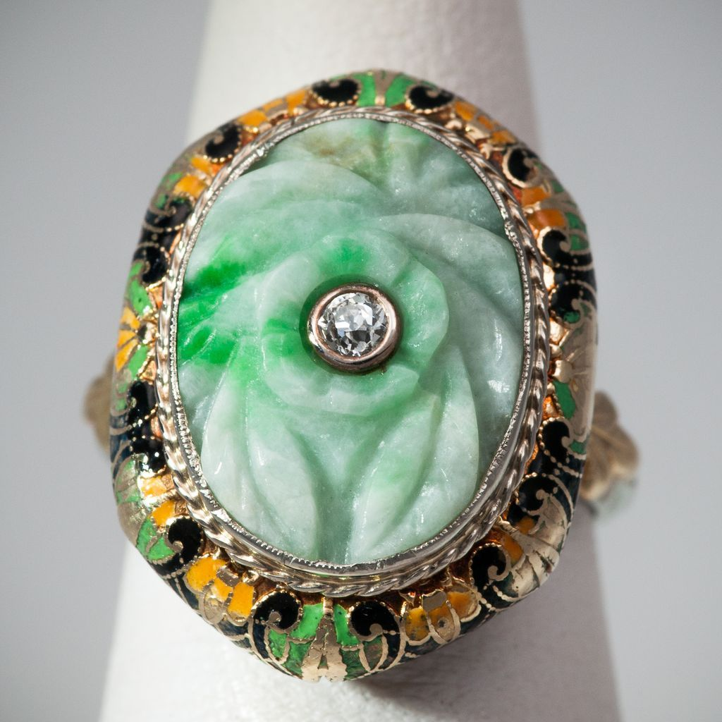 antique carved apple green jade ring sold on ruby