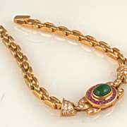 Diamond and Emerald, Ruby 14K Bracelet