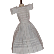 Antique White Cotton Dress with Pleats