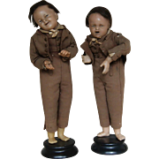 Pair of Poured Wax Dolls - Rare