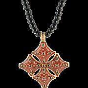 Vintage Blue Sapphire Red Enamel 18k Large Cross Pendant Necklace