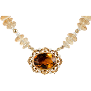 Antique Victorian Citrine with Gold and Seed Pearls Necklace