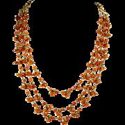 Triple Strand of Mandarin Garnets on Vermeil Necklace